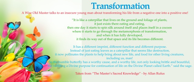 Transformation and complete metamorphosis of Self - Caterpillar - Butterfly Effect